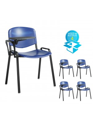 Taurus plastic meeting room chair (box of 4) with writing tablet - blue with black frame