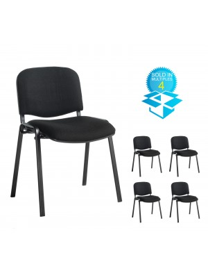 Taurus meeting room stackable chair (box of 4) with black frame and no arms - black