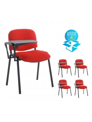 Taurus meeting room chair (box of 4) with black frame and writing tablet - red