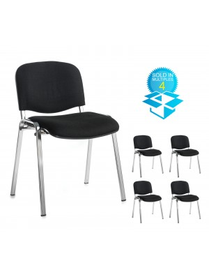 Box of 4 taurus chrome frame stacking chairs with black fabric