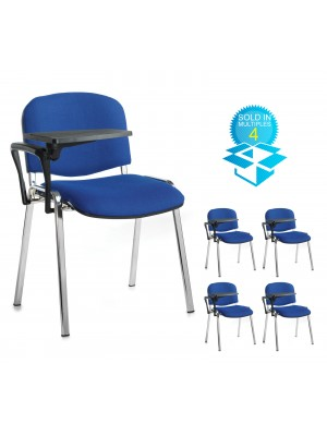 Taurus meeting room chair (box of 4) with chrome frame and writing tablet - blue