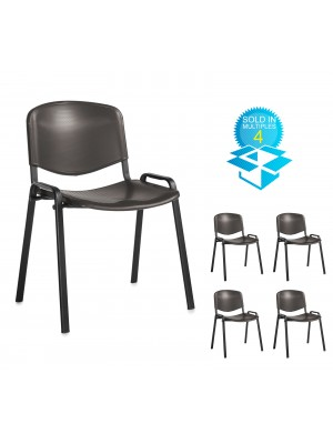 Taurus plastic meeting room stackable chair (box of 4) with no arms - black with black frame