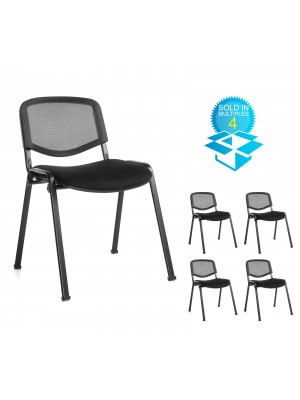 Taurus mesh back meeting room stackable chair (box of 4) with no arms - black