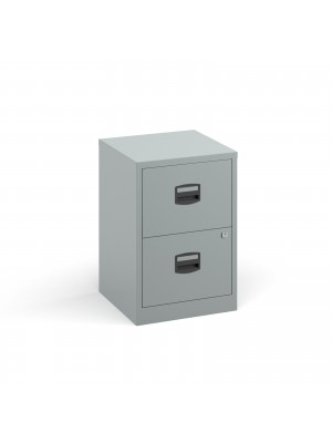 Bisley A4 home filer with 2 drawers - silver