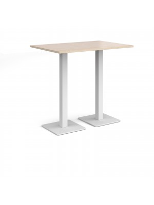 Brescia rectangular poseur table with flat square white bases 1200mm x 800mm - maple