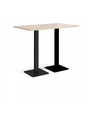 Brescia rectangular poseur table with flat square black bases 1400mm x 800mm - maple