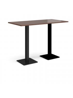 Brescia rectangular poseur table with flat square black bases 1600mm x 800mm - walnut
