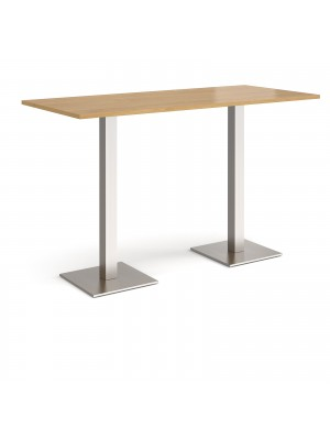 Brescia rectangular poseur table with flat square brushed steel bases 1800mm x 800mm - oak