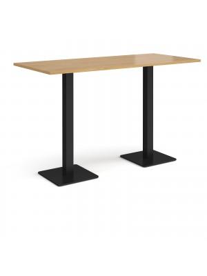 Brescia rectangular poseur table with flat square black bases 1800mm x 800mm - oak