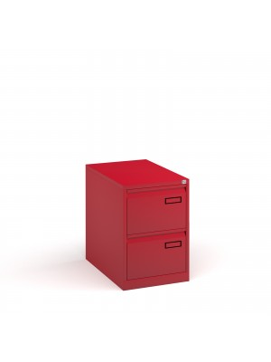 Bisley steel 2 drawer public sector contract filing cabinet 711mm high - red