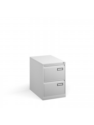 Bisley steel 2 drawer public sector contract filing cabinet 711mm high - white