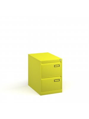 Bisley steel 2 drawer public sector contract filing cabinet 711mm high - yellow