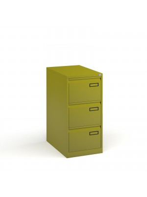 Bisley steel 3 drawer public sector contract filing cabinet 1016mm high - green