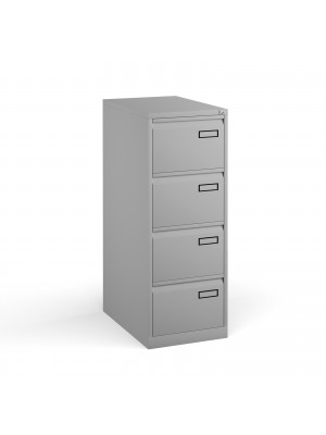 Bisley steel 4 drawer public sector contract filing cabinet 1321mm high - goose grey