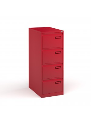 Bisley steel 4 drawer public sector contract filing cabinet 1321mm high - red