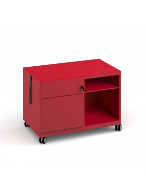 Bisley steel caddy left hand storage unit 800mm - red