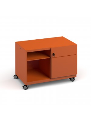 Bisley steel caddy right hand storage unit 800mm - orange