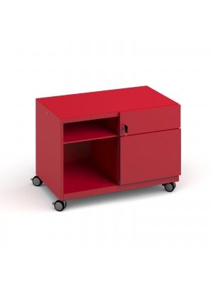 Bisley steel caddy right hand storage unit 800mm - red