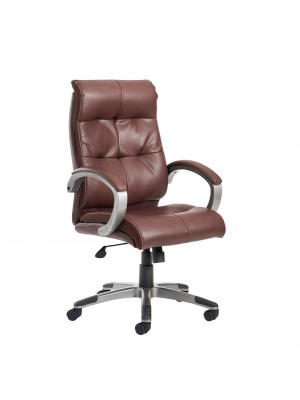 Catania high back managers chair - brown leather faced
