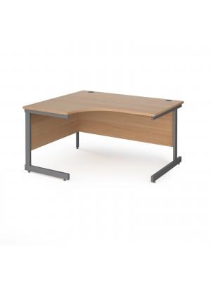 Contract 25 left hand ergonomic desk with graphite cantilever leg 1400mm - beech top