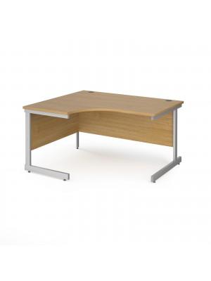 Contract 25 left hand ergonomic desk with silver cantilever leg 1400mm - oak top