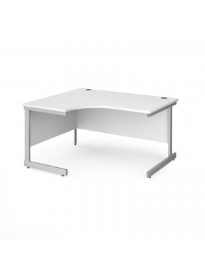 Contract 25 left hand ergonomic desk with silver cantilever leg 1400mm - white top
