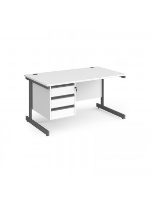Contract 25 straight desk with 3 drawer pedestal and graphite cantilever leg 1400mm x 800mm - white top