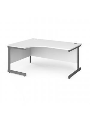 Contract 25 left hand ergonomic desk with graphite cantilever leg 1600mm - white top