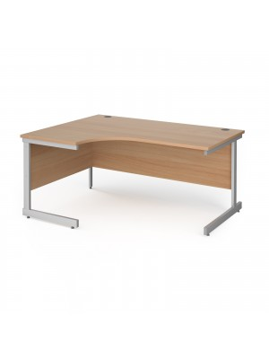 Contract 25 left hand ergonomic desk with silver cantilever leg 1600mm - beech top