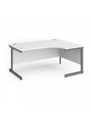 Contract 25 right hand ergonomic desk with graphite cantilever leg 1600mm - white top