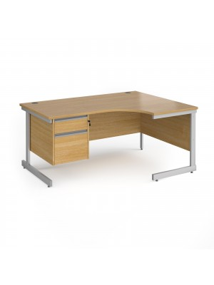 Contract 25 right hand ergonomic desk with 2 drawer pedestal and silver cantilever leg 1600mm - oak top