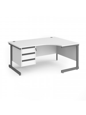 Contract 25 right hand ergonomic desk with 3 drawer pedestal and graphite cantilever leg 1600mm - white top