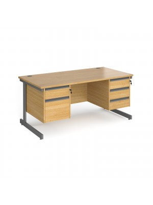 Contract 25 straight desk with 2 and 3 drawer pedestals and graphite cantilever leg 1600mm x 800mm - oak top