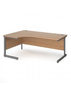 Contract 25 left hand ergonomic desk with graphite cantilever leg 1800mm - beech top