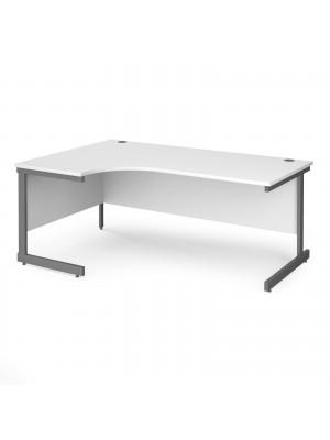 Contract 25 left hand ergonomic desk with graphite cantilever leg 1800mm - white top