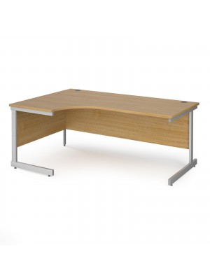 Contract 25 left hand ergonomic desk with silver cantilever leg 1800mm - oak top