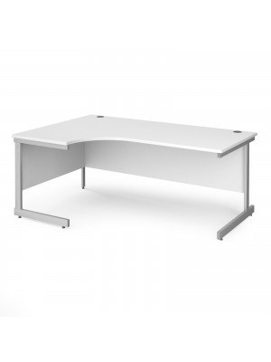 Contract 25 left hand ergonomic desk with silver cantilever leg 1800mm - white top