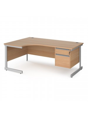 Contract 25 left hand ergonomic desk with 2 drawer pedestal and silver cantilever leg 1800mm - beech top