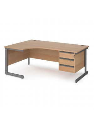 Contract 25 left hand ergonomic desk with 3 drawer pedestal and graphite cantilever leg 1800mm - beech top