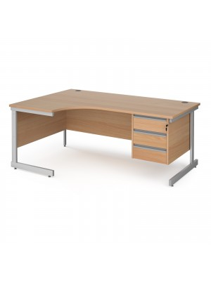 Contract 25 left hand ergonomic desk with 3 drawer pedestal and silver cantilever leg 1800mm - beech top