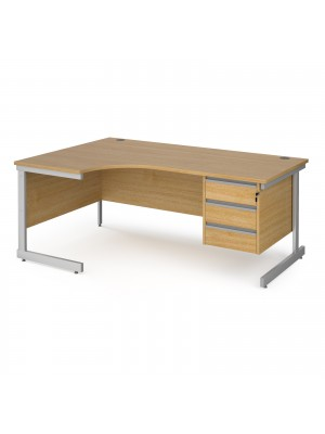 Contract 25 left hand ergonomic desk with 3 drawer pedestal and silver cantilever leg 1800mm - oak top