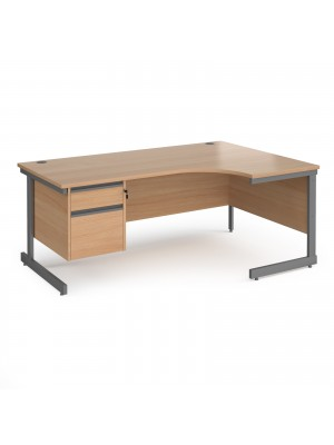 Contract 25 right hand ergonomic desk with 2 drawer pedestal and graphite cantilever leg 1800mm - beech top