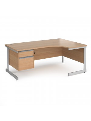 Contract 25 right hand ergonomic desk with 2 drawer pedestal and silver cantilever leg 1800mm - beech top