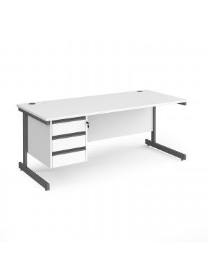 Contract 25 straight desk with 3 drawer pedestal and graphite cantilever leg 1800mm x 800mm - white top