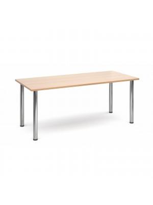 Rectangular deluxe chrome radial leg table 1800mm x 800mm - beech