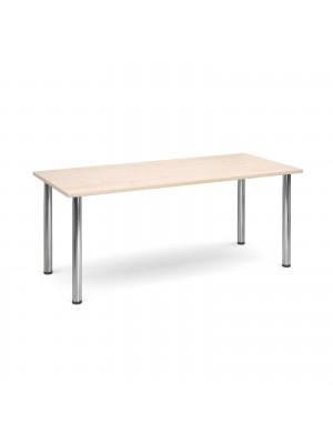 Rectangular deluxe chrome radial leg table 1800mm x 800mm - maple