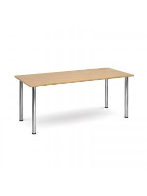 Rectangular deluxe chrome radial leg table 1800mm x 800mm - oak