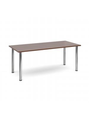 Rectangular deluxe chrome radial leg table 1800mm x 800mm - walnut