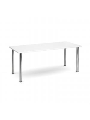 Rectangular deluxe chrome radial leg table 1800mm x 800mm - white