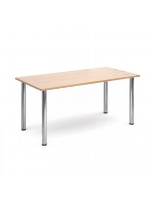Rectangular deluxe chrome radial leg table 1600mm x 800mm - beech